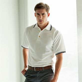 Double tipped collar and cuff polo shirt