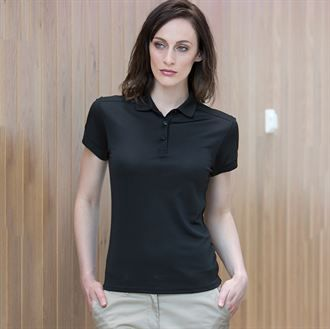Women's stretch polo shirt with wick finish