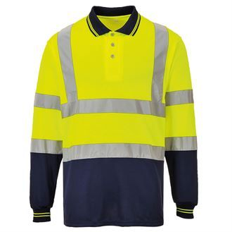 Hi-vis two-tone long sleeve polo shirt (S279)