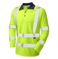 WOOLSERY EN471 CLASS 3 COOLVIZ LONG-SLEEVE POLO SHIRT YELLOW