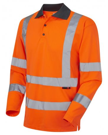 P06-O Hi Vis Polo Shirt Long Sleeve Orange Woolsery Coolviz